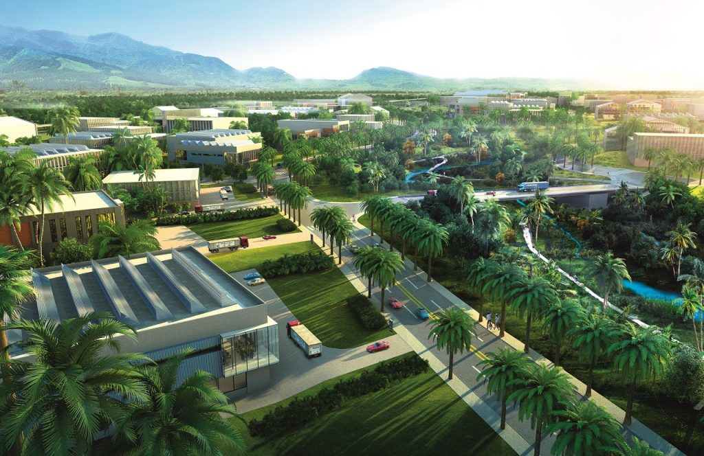 Wide shot of an industrial park