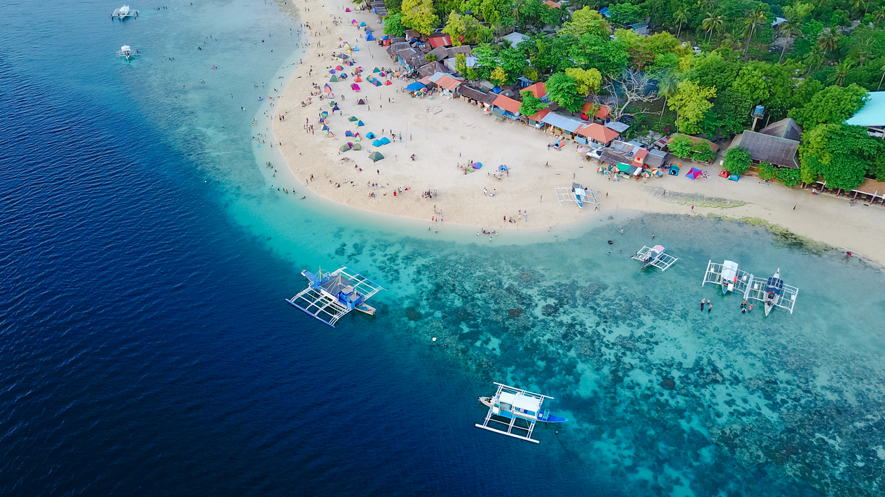 Aerial shot of a Philippine beach