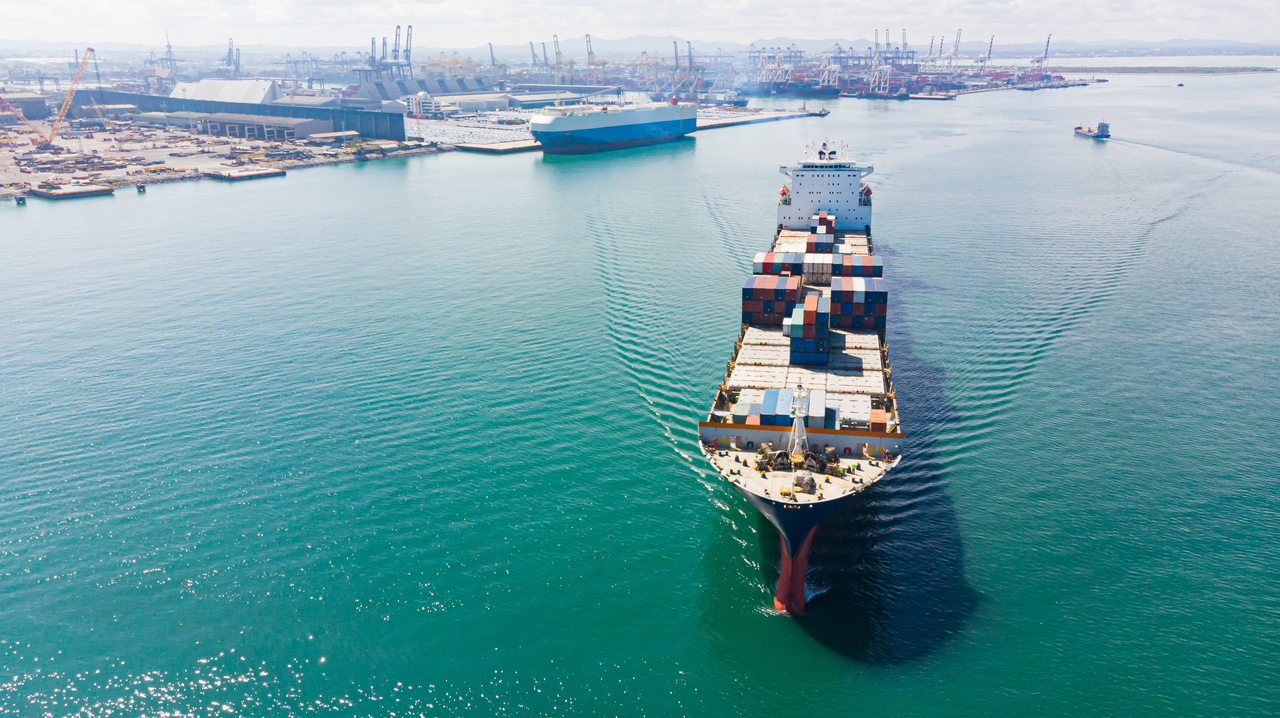 A cargo container in the sea