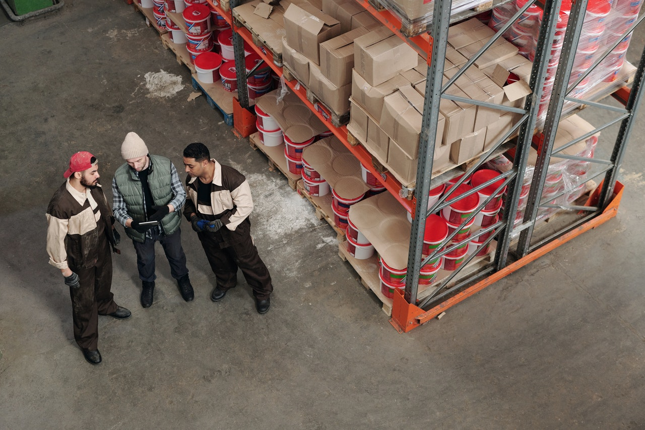 Employees in an industrial park