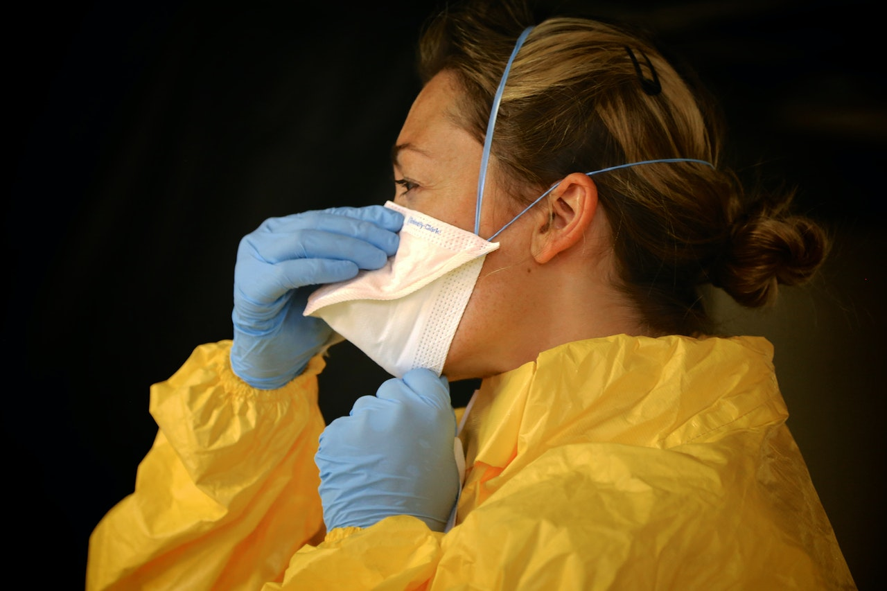 A person wearing personal protective equipment