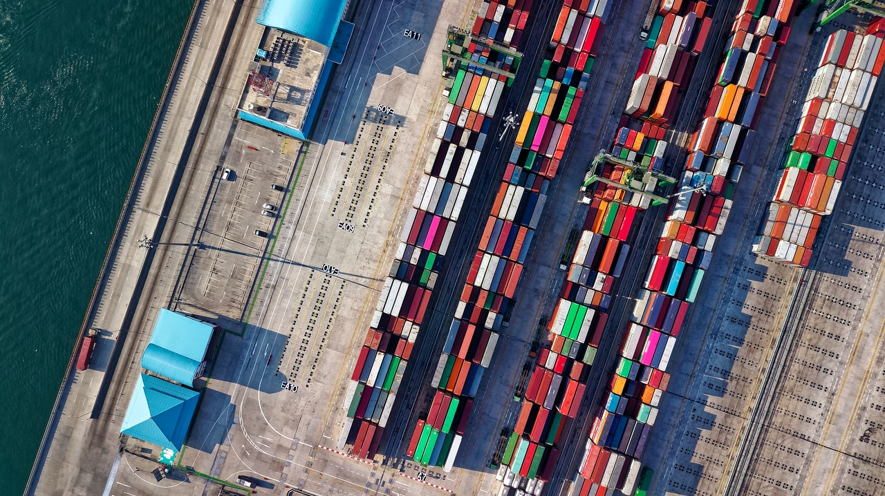 Aerial shot of a boat used to transport goods