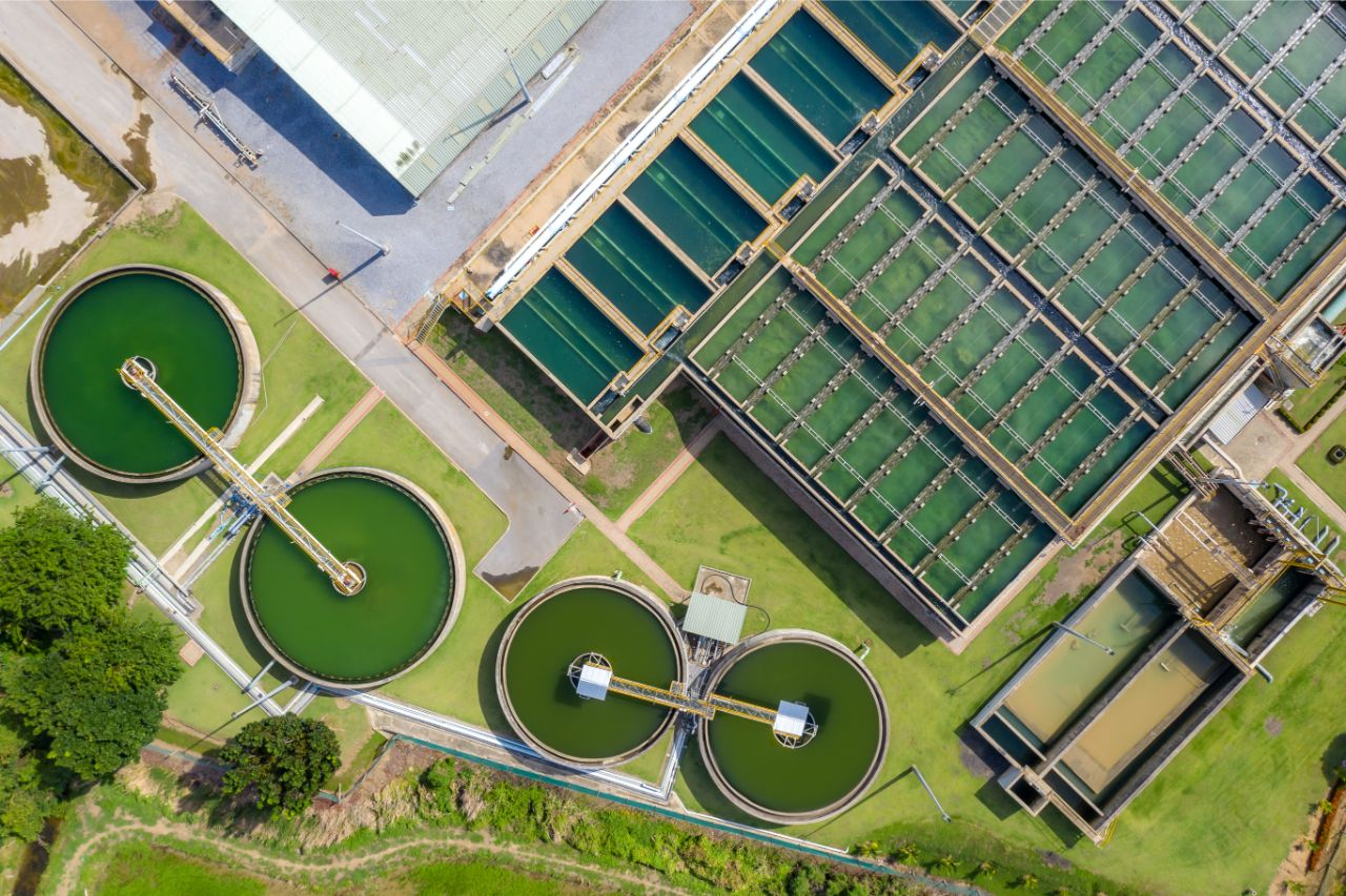 Aerial view of wastewater treatment
