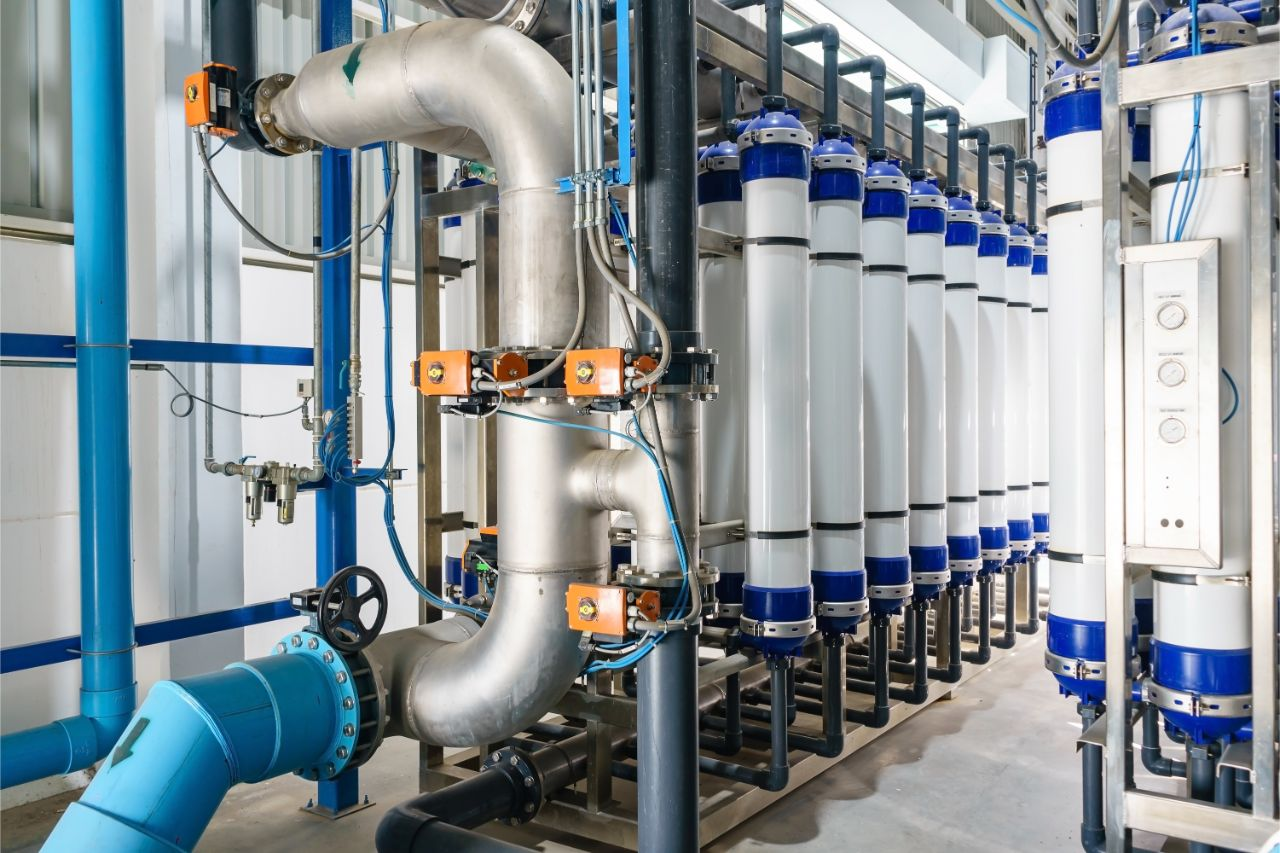 Filtration and purification water system for industrial park